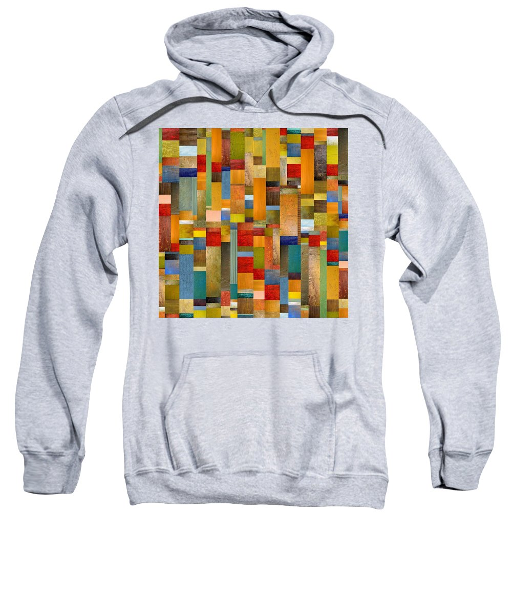 Multicolored Sweatshirt featuring the painting Pieces Parts by Michelle Calkins