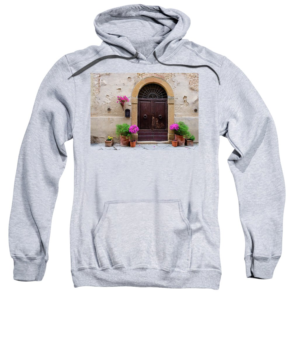 Europe Sweatshirt featuring the photograph Pienza Doorway by Michael Blanchette