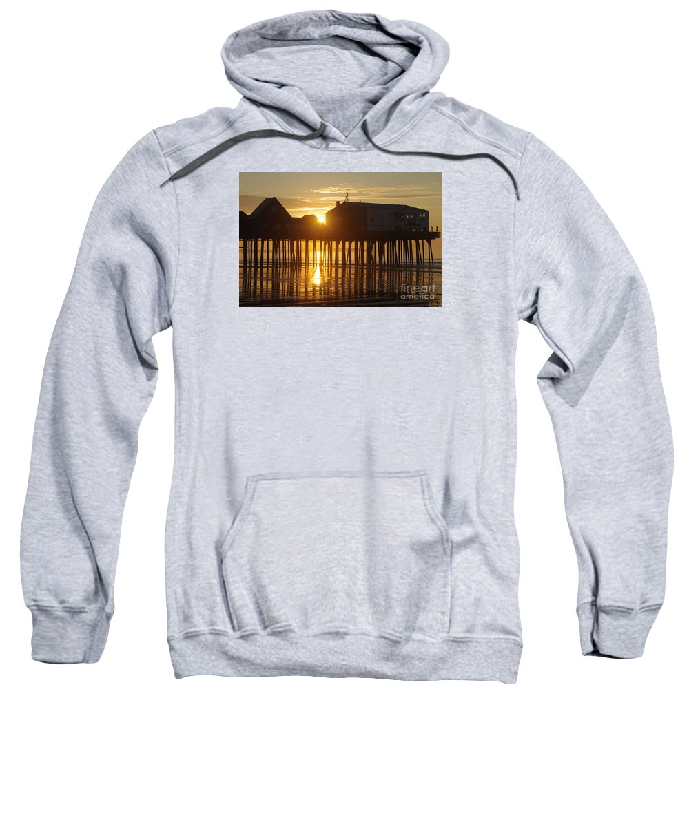 Old Sweatshirt featuring the photograph Pier Sunrise by Ray Konopaske