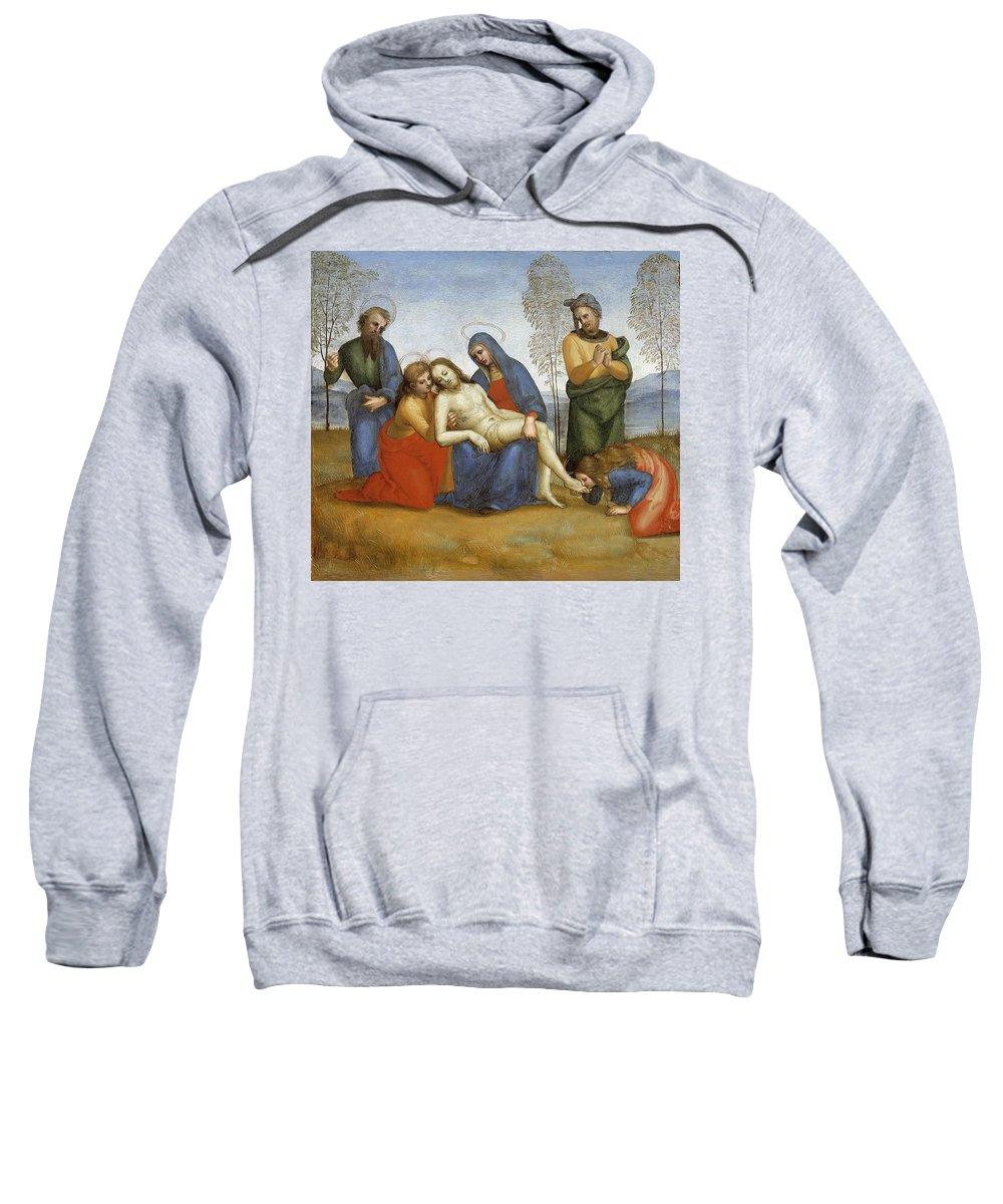 Person Sweatshirt featuring the digital art Pieta Raffaello Sanzio Da Urbino Raphael Raffaello Santi by Eloisa Mannion