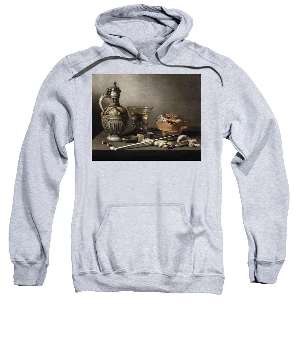 Art Sweatshirt featuring the painting Pieter Claesz - Still Life With A Stoneware Jug, Berkemeyer, And Smoking Utensils 1640 by Pieter Claesz