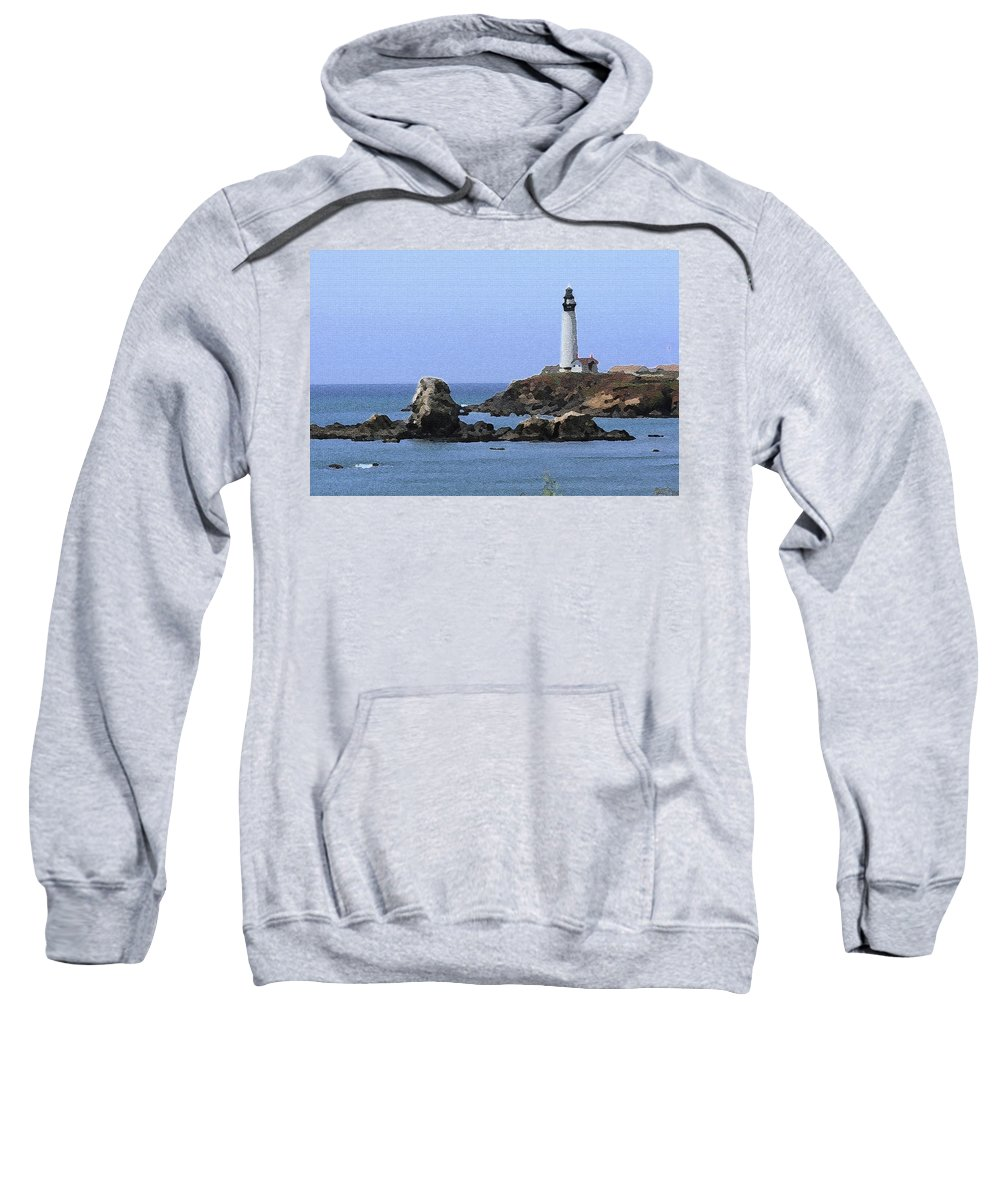 California Sweatshirt featuring the photograph Pigeon Point Lighthouse - Palette Knife by Lou Ford