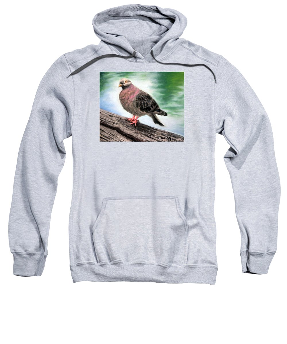 Pigeon Sweatshirt featuring the painting Pigeon Toes by Minaz Jantz