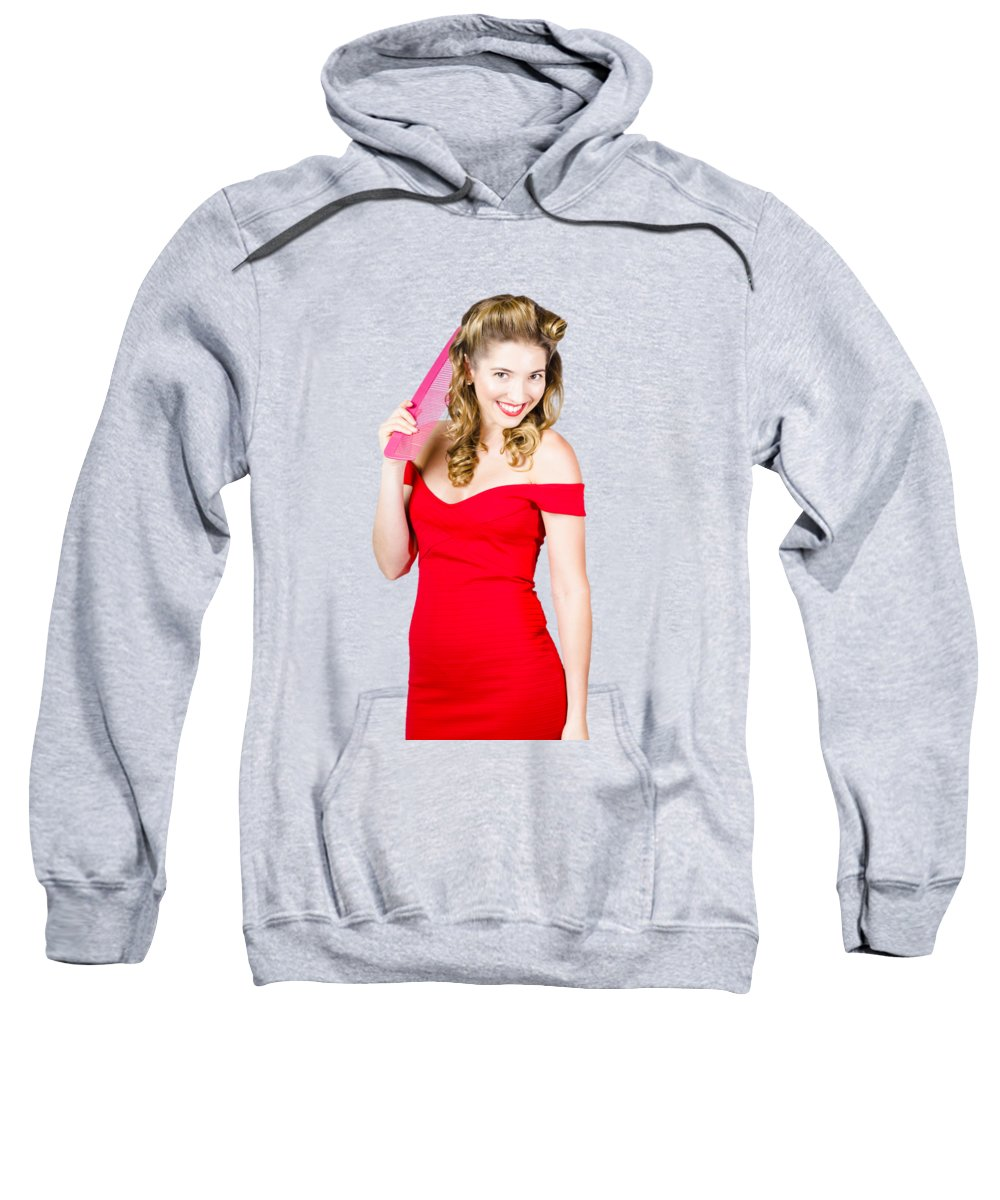 Female Sweatshirt featuring the photograph Pin-up Styled Fashion Model With Classic Hairstyle by Jorgo Photography - Wall Art Gallery