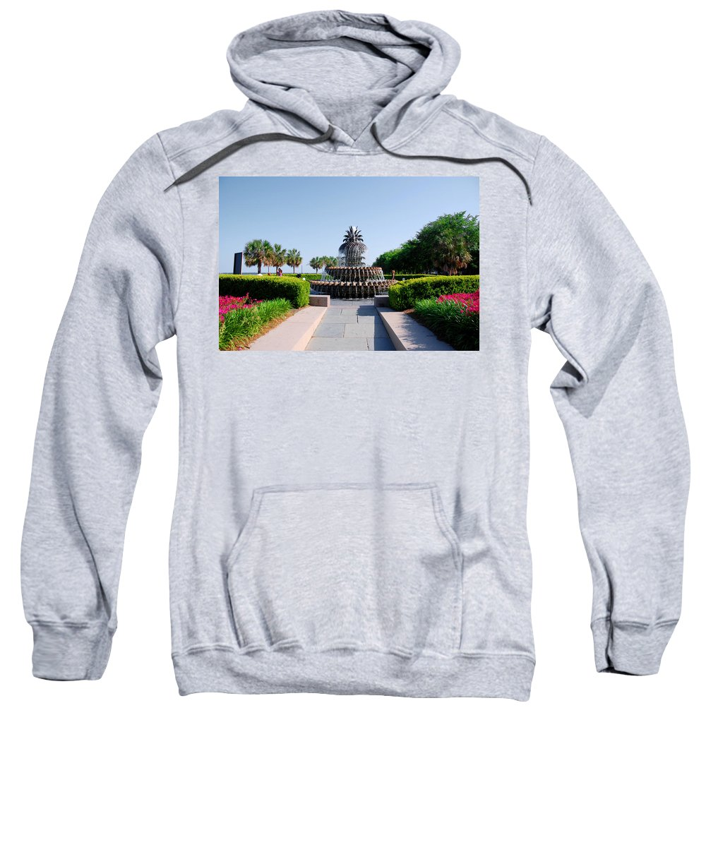Photography Sweatshirt featuring the photograph Pineapple Fountain In Charleston by Susanne Van Hulst