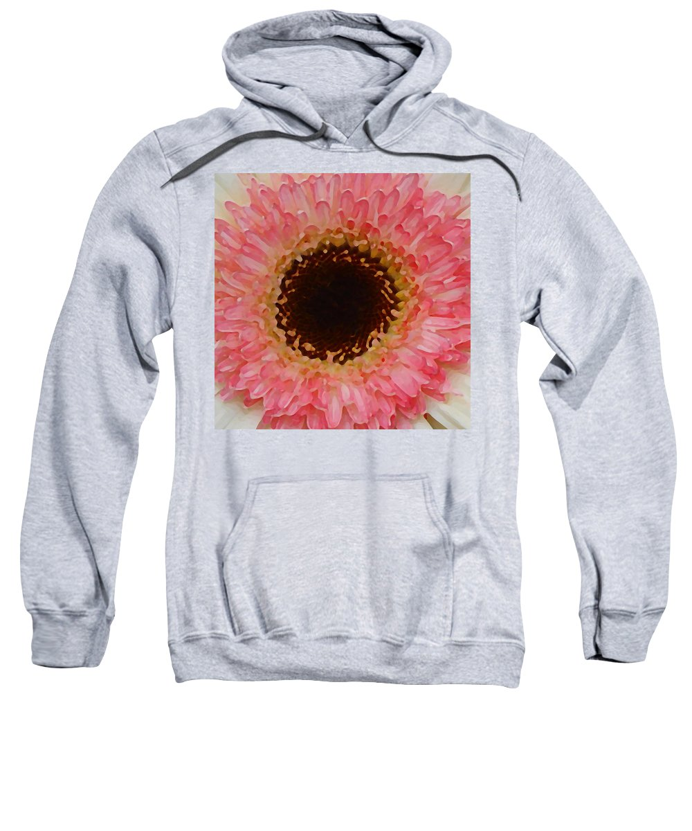 Daisy Sweatshirt featuring the painting Pink And Brown Gerber Center by Amy Vangsgard