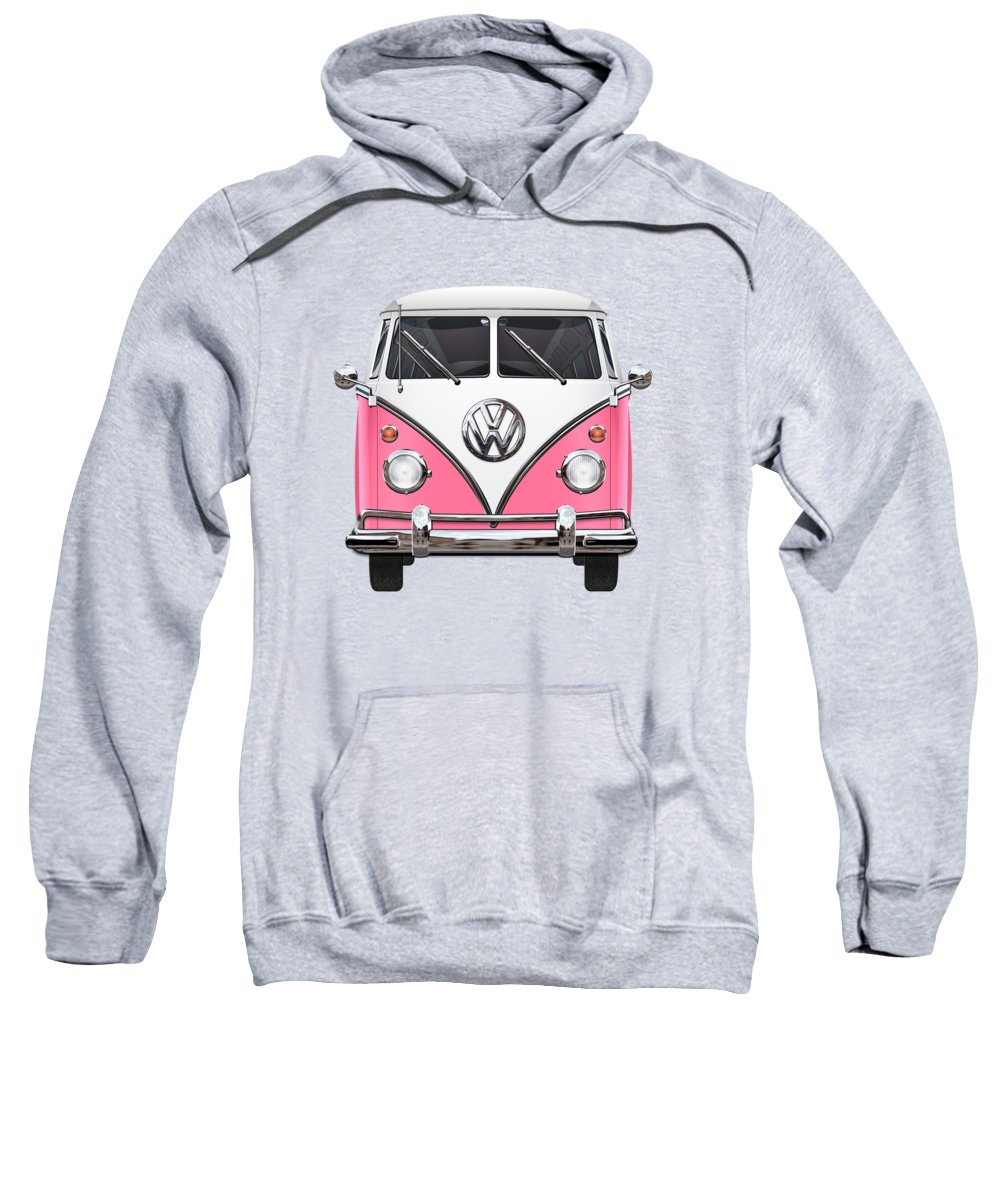 'volkswagen Type 2' Collection By Serge Averbukh Sweatshirt featuring the photograph Pink And White Volkswagen T 1 Samba Bus On Yellow by Serge Averbukh