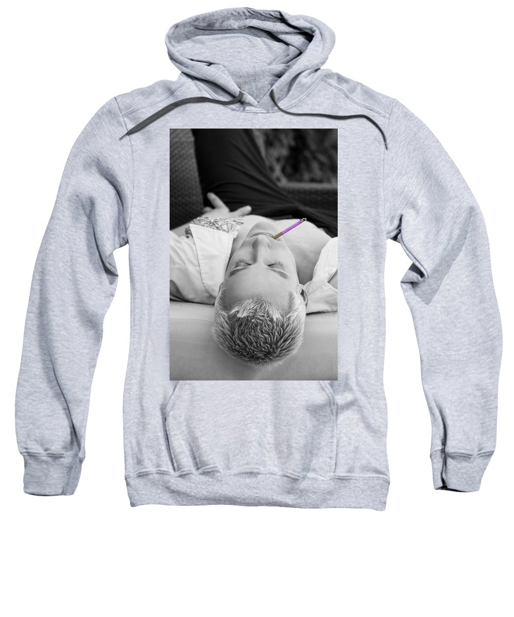 Www.williamdey.com Sweatshirt featuring the photograph Pink Cigarette by William Dey