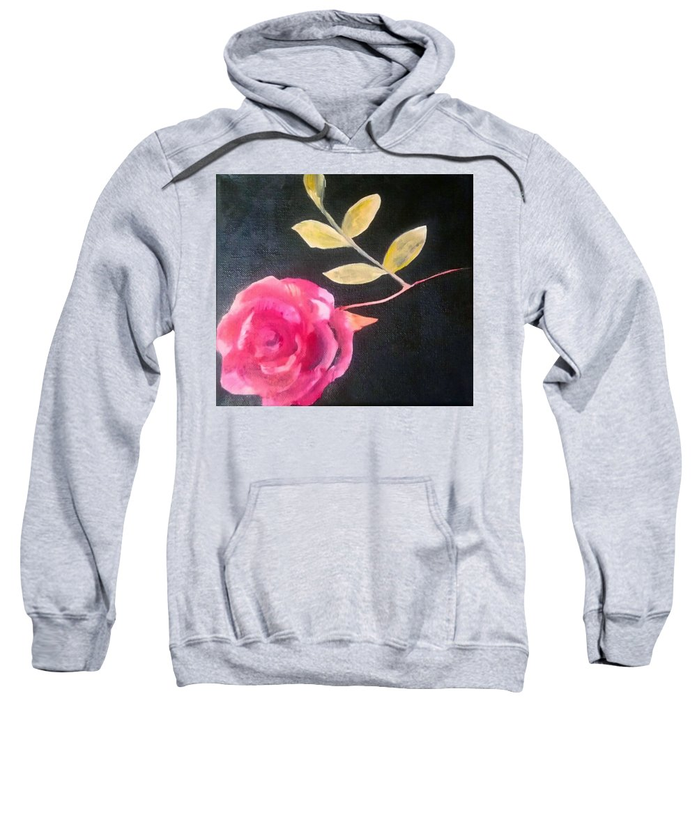 Flower Sweatshirt featuring the painting Pink Flower by Eve Bodirwa