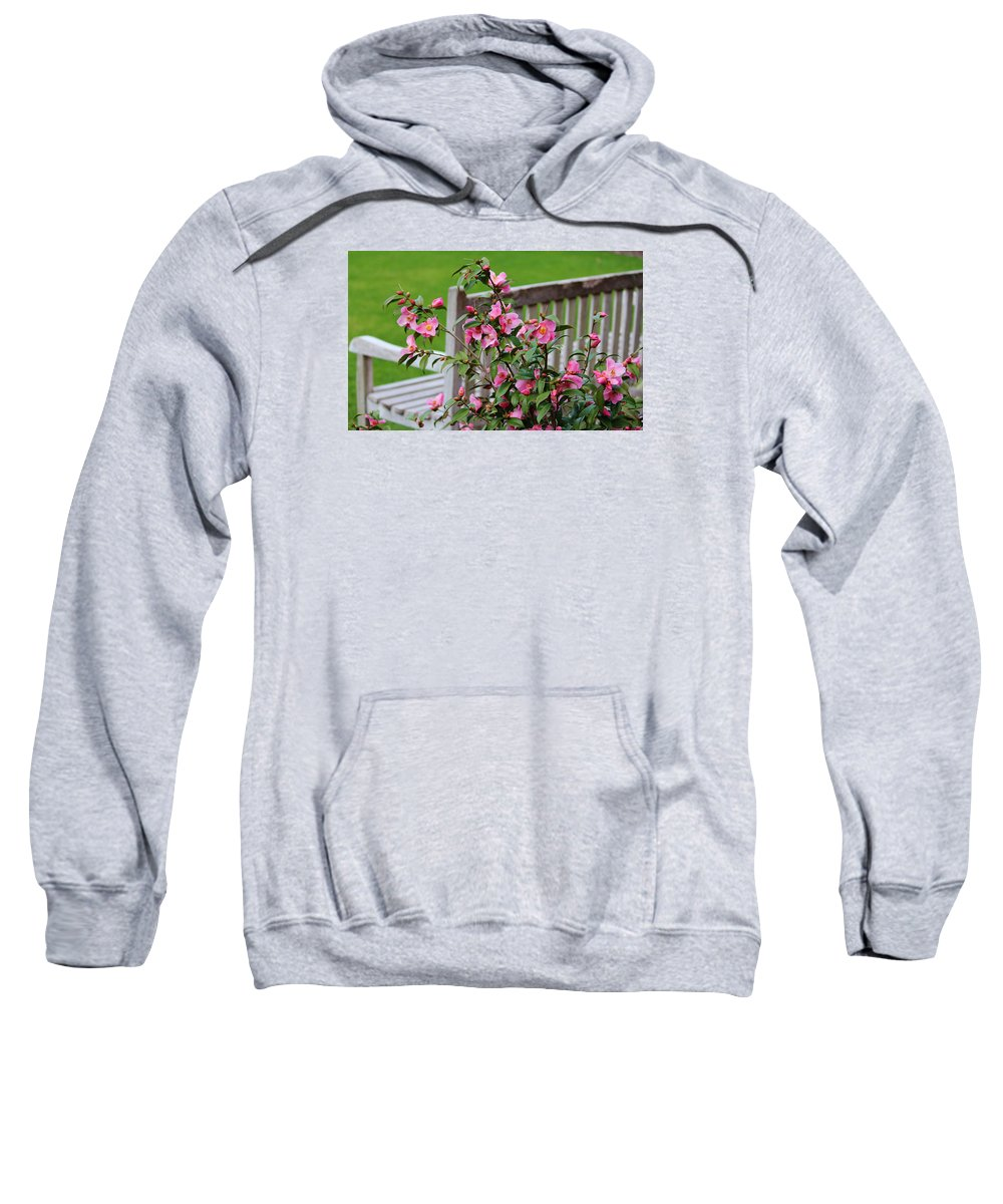 Bench Sweatshirt featuring the photograph Pink Flowers By The Bench by Cynthia Guinn