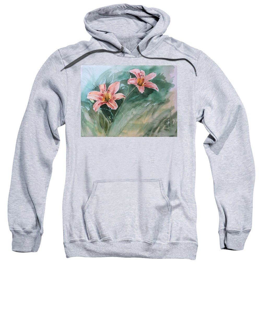 Watercolor Sweatshirt featuring the painting Pink Flowers by Katherine Berlin