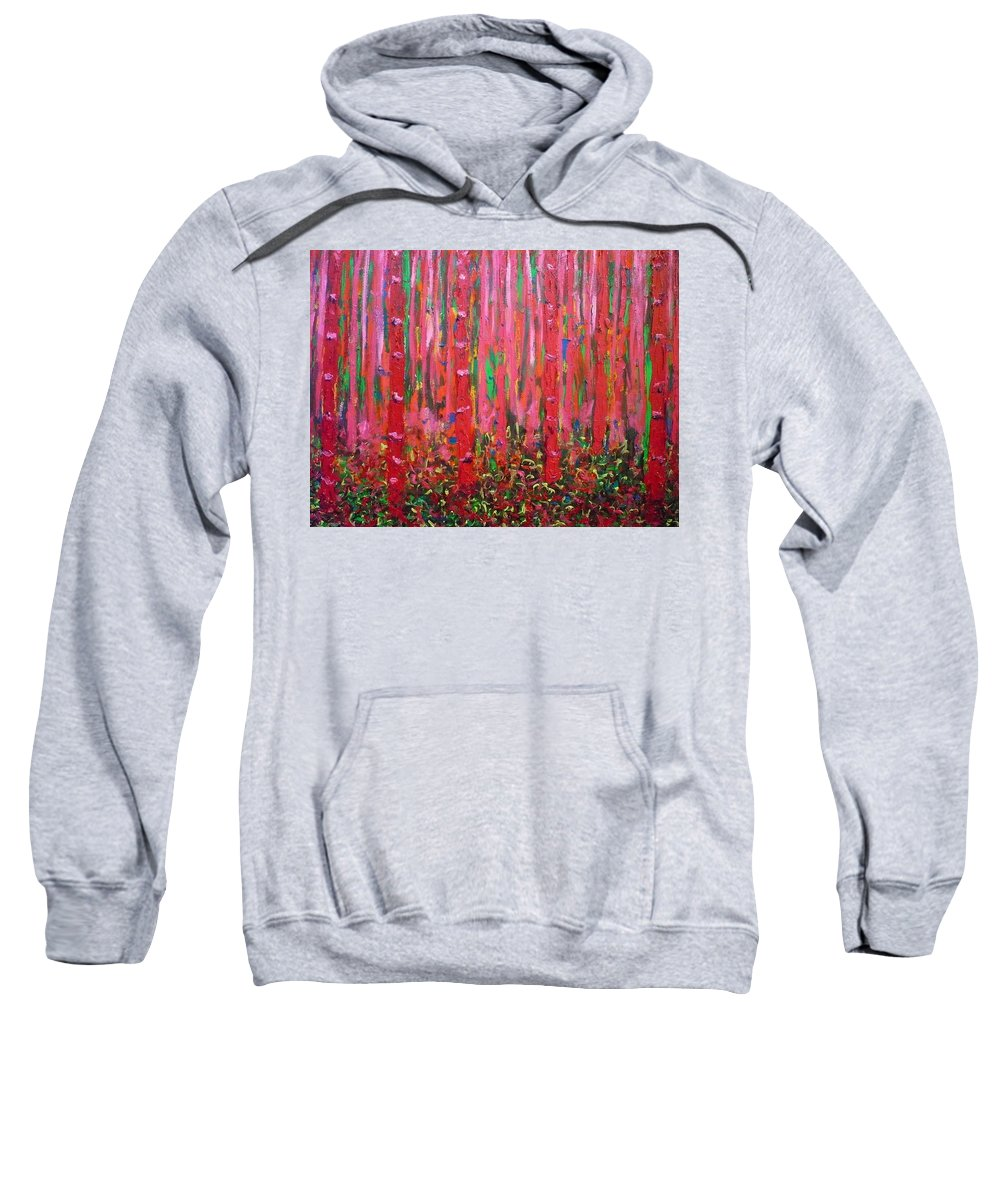 Pink Sweatshirt featuring the painting Pink Forest by Ericka Herazo