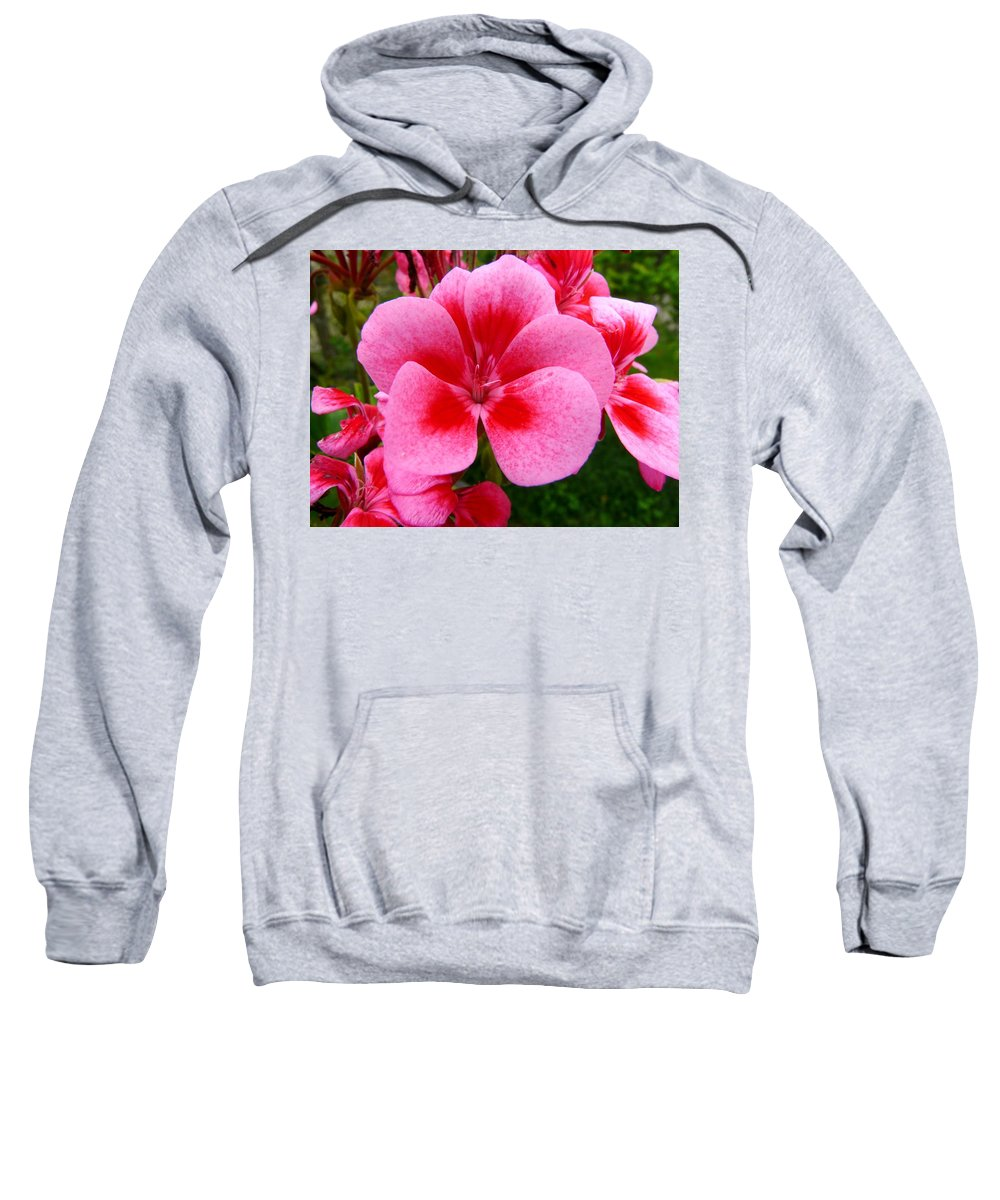 Plant Sweatshirt featuring the photograph Pink Geranium Blossom by Valerie Ornstein