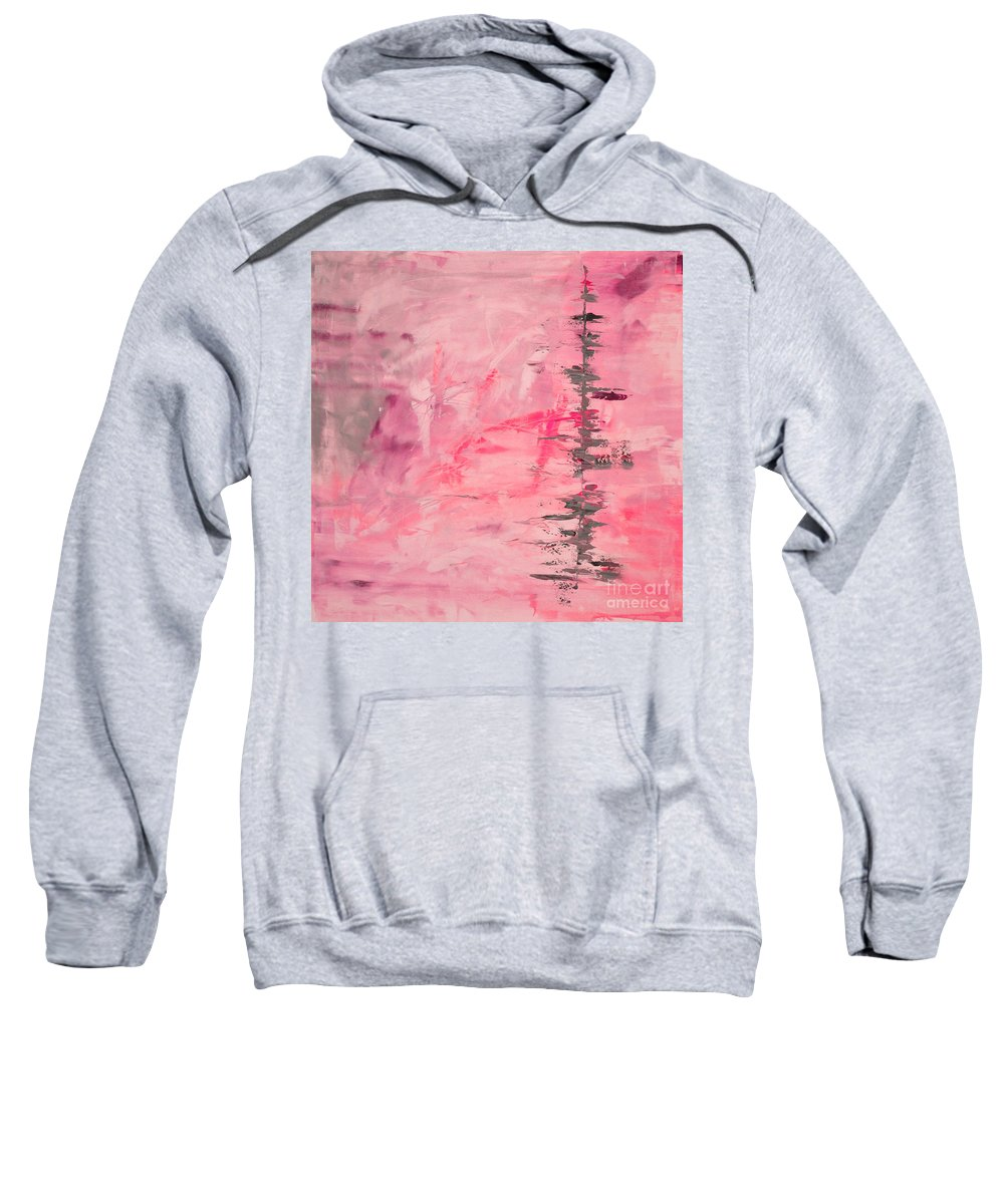 Pink Sweatshirt featuring the painting Pink Gray Abstract by Voros Edit