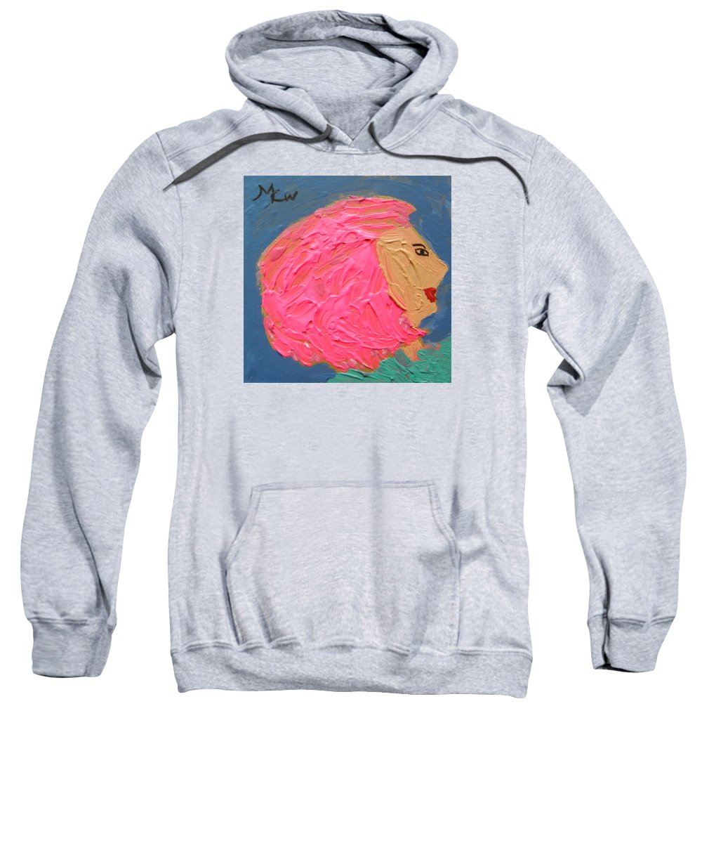 Pink Hair Sweatshirt featuring the painting Pink Hair by Mary Carol Williams