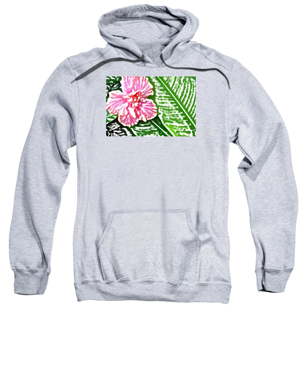 Flower Art Sweatshirt featuring the digital art Pink Hibiscus by James Temple