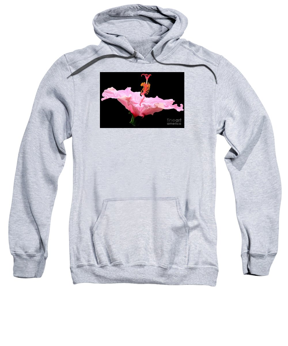 Pink Hibiscus Sweatshirt featuring the photograph Pink Hibiscus With Curlicue Effect by Rose Santuci-Sofranko