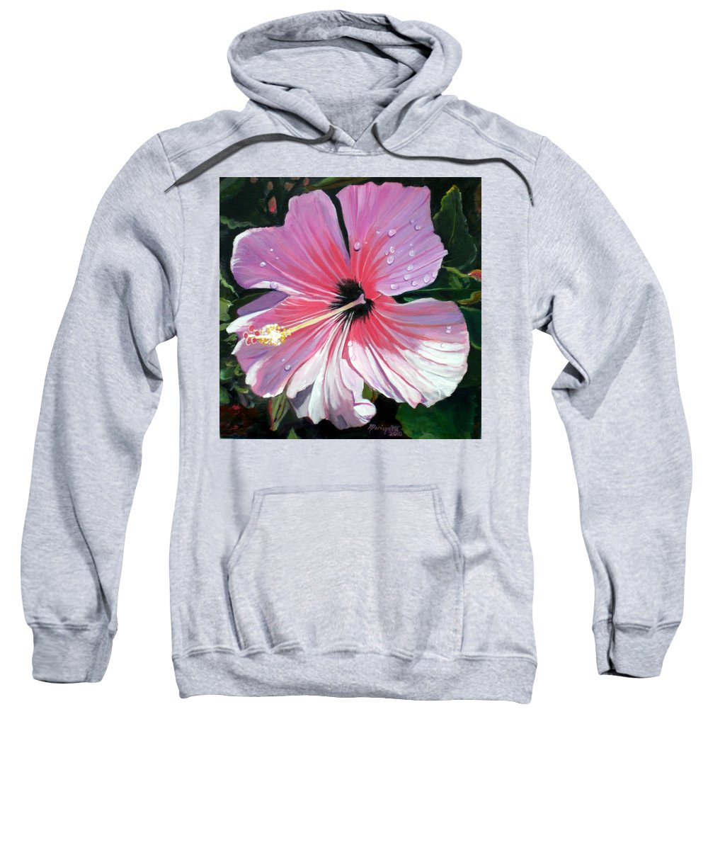 Pink Sweatshirt featuring the painting Pink Hibiscus With Raindrops by Marionette Taboniar