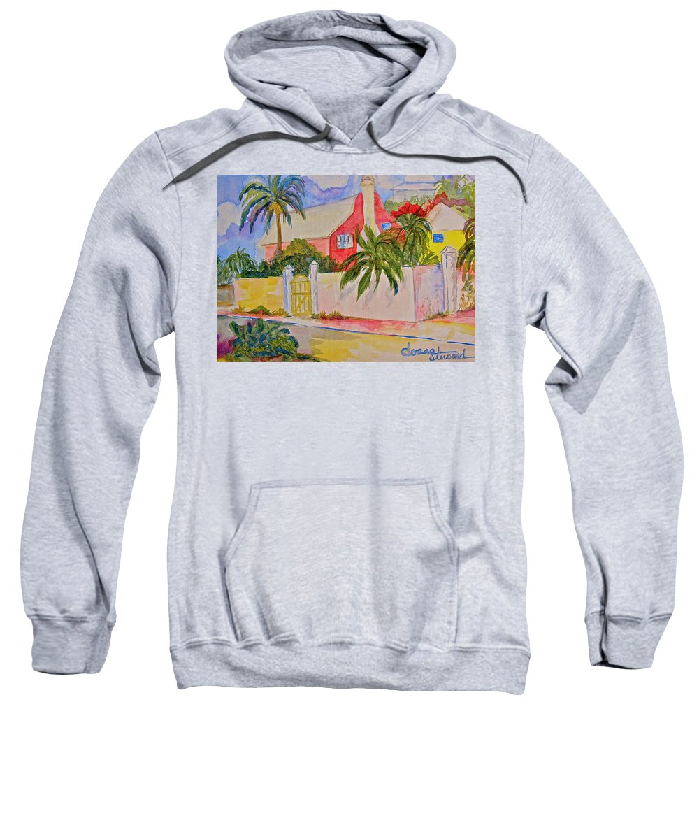 Island House Sweatshirt featuring the painting Pink House by Donna Steward