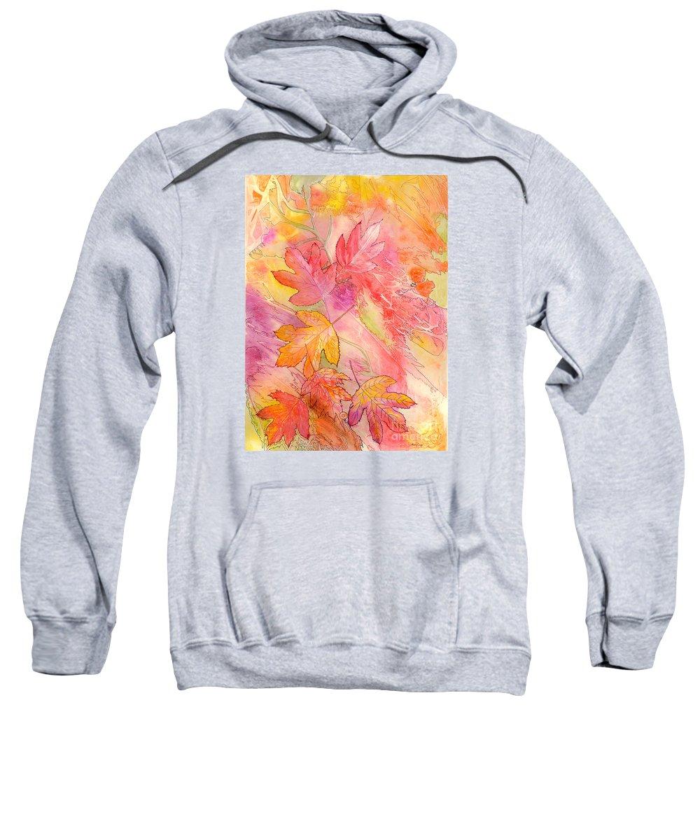 Tree Leaves Sweatshirt featuring the painting Pink Leaves by Nancy Cupp