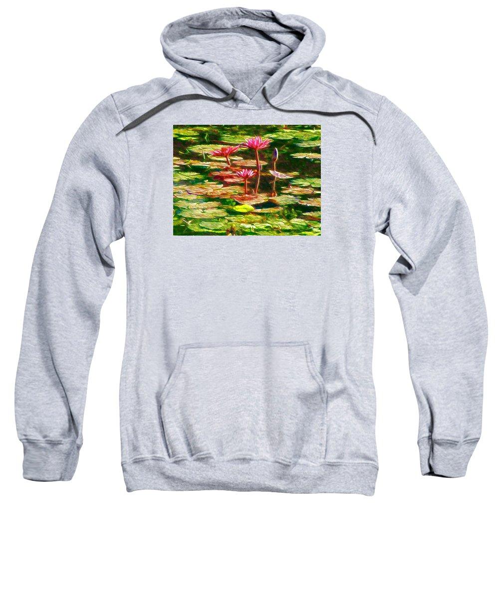 White Lotus Flower Sweatshirt featuring the painting Pink Lotus Flower 2 by Jeelan Clark
