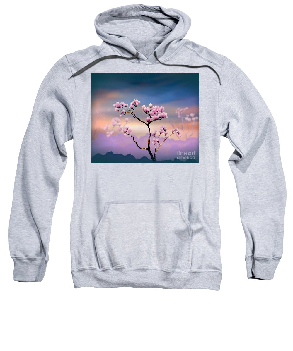 Pink Sweatshirt featuring the digital art Pink Magnolia - Bright Version by Peter Awax