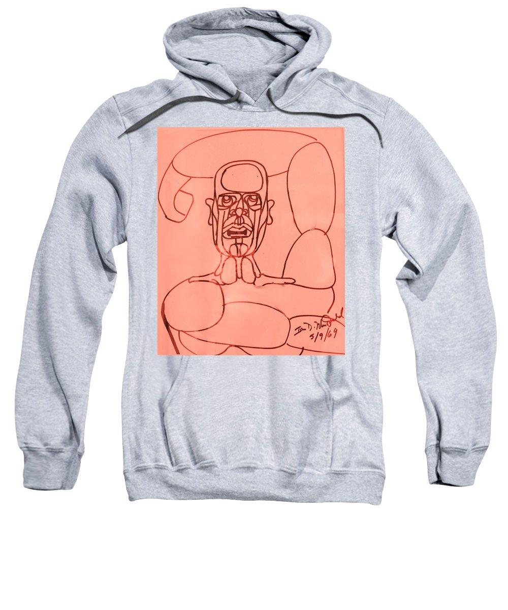 Man Sweatshirt featuring the drawing Pink Man by Ian MacDonald