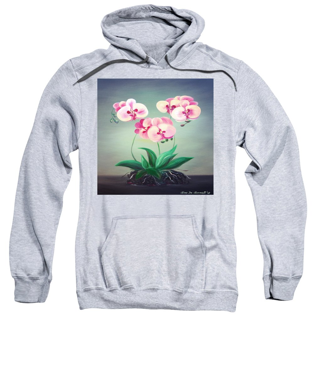 Original Sweatshirt featuring the painting Pink Orchids 2 by Gina De Gorna
