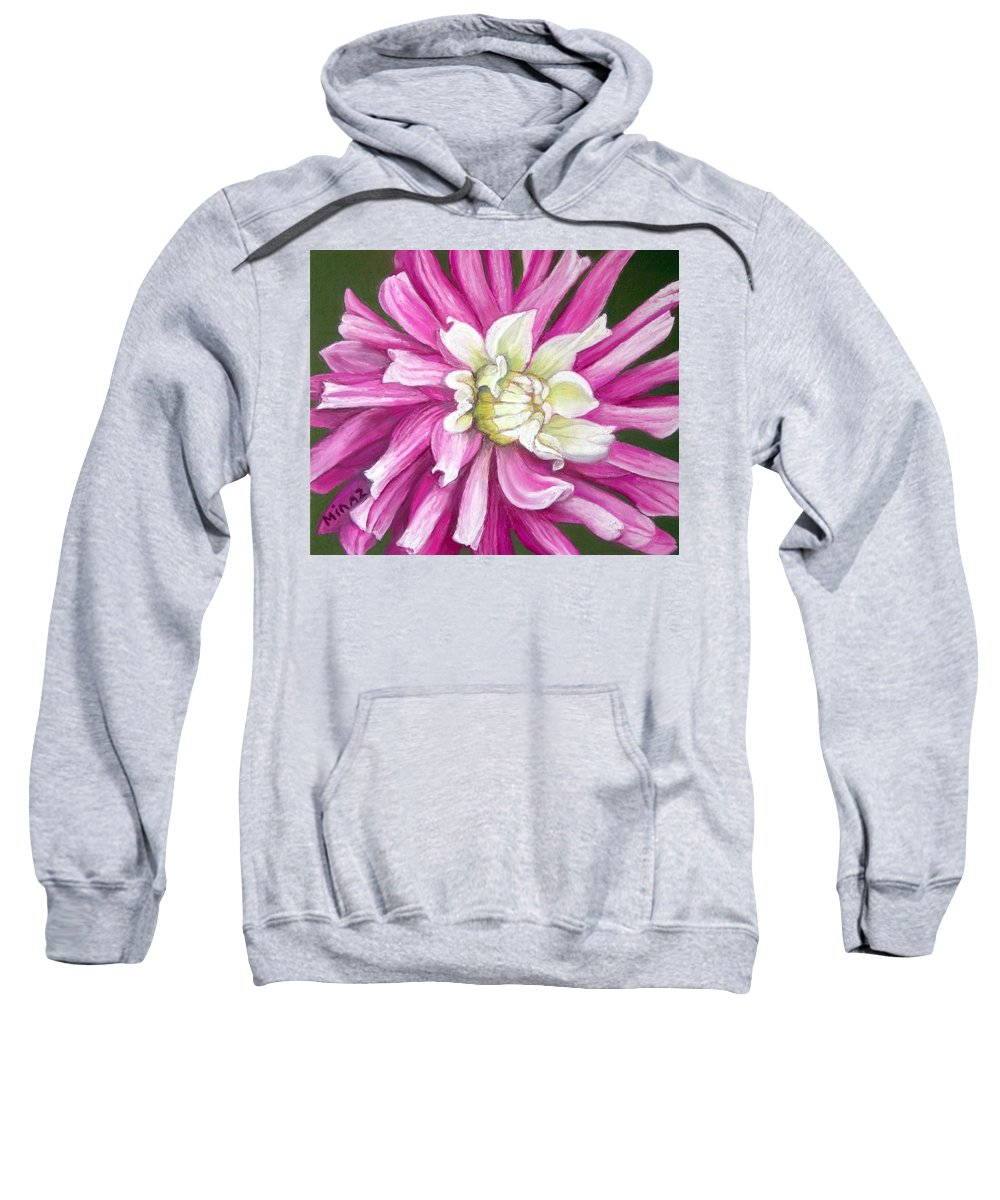 Floral Sweatshirt featuring the painting Pink Petal Blast by Minaz Jantz