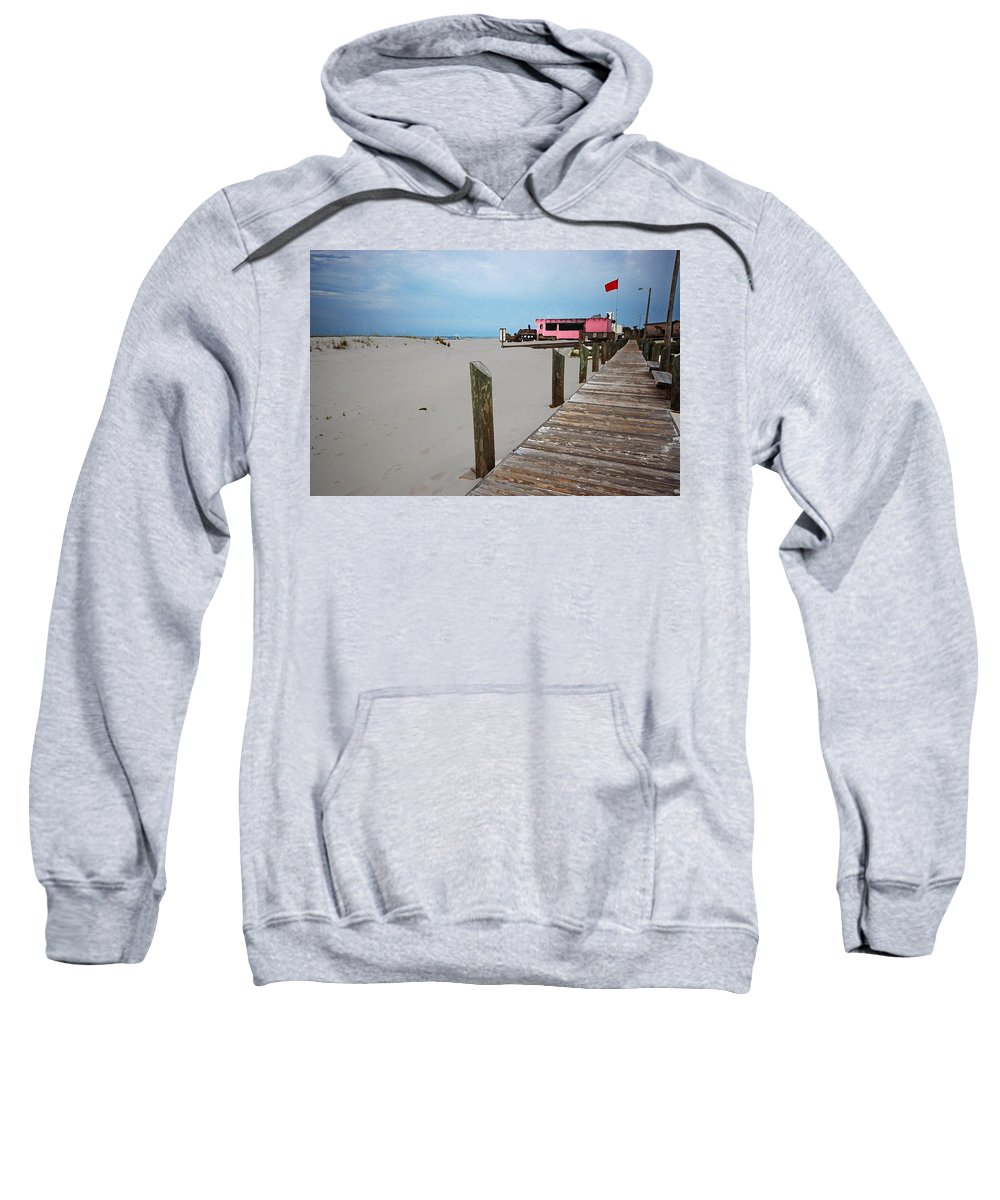 Fairhope Sweatshirt featuring the photograph Pink Pony And Boardwalk by Michael Thomas