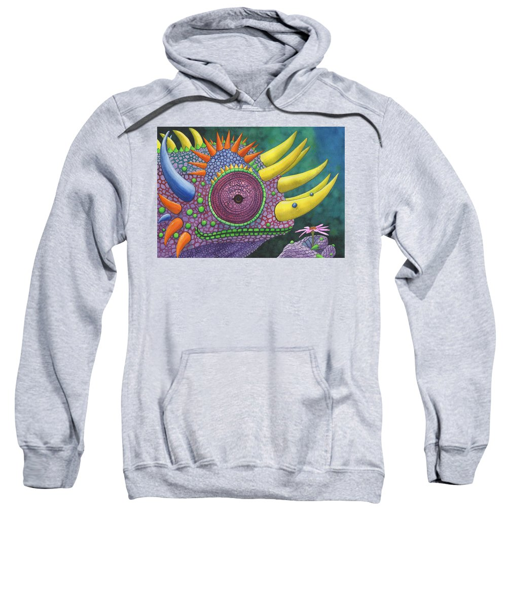 Lizard Sweatshirt featuring the painting Pink posy by Catherine G McElroy