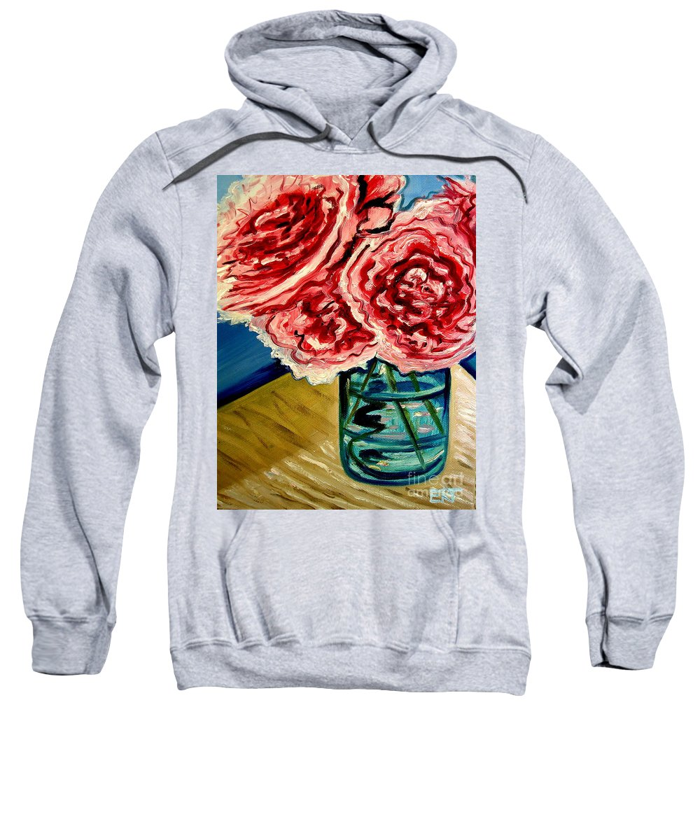Floral Sweatshirt featuring the painting Pink Ruffled Peonies by Elizabeth Robinette Tyndall