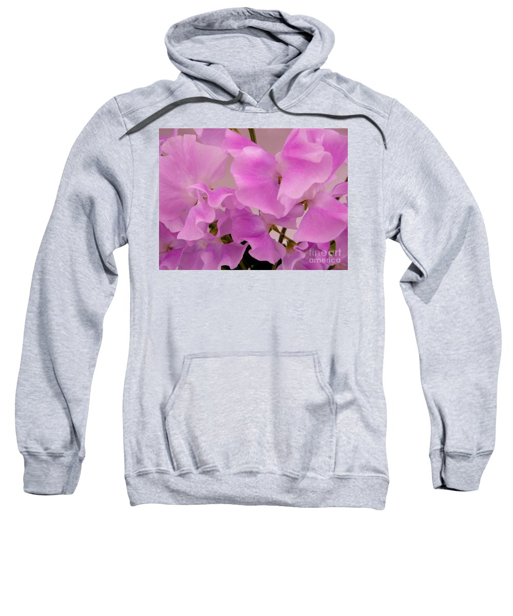 Pink Sweetpeas Sweatshirt featuring the photograph Pink Sweetpeas by Joan-Violet Stretch