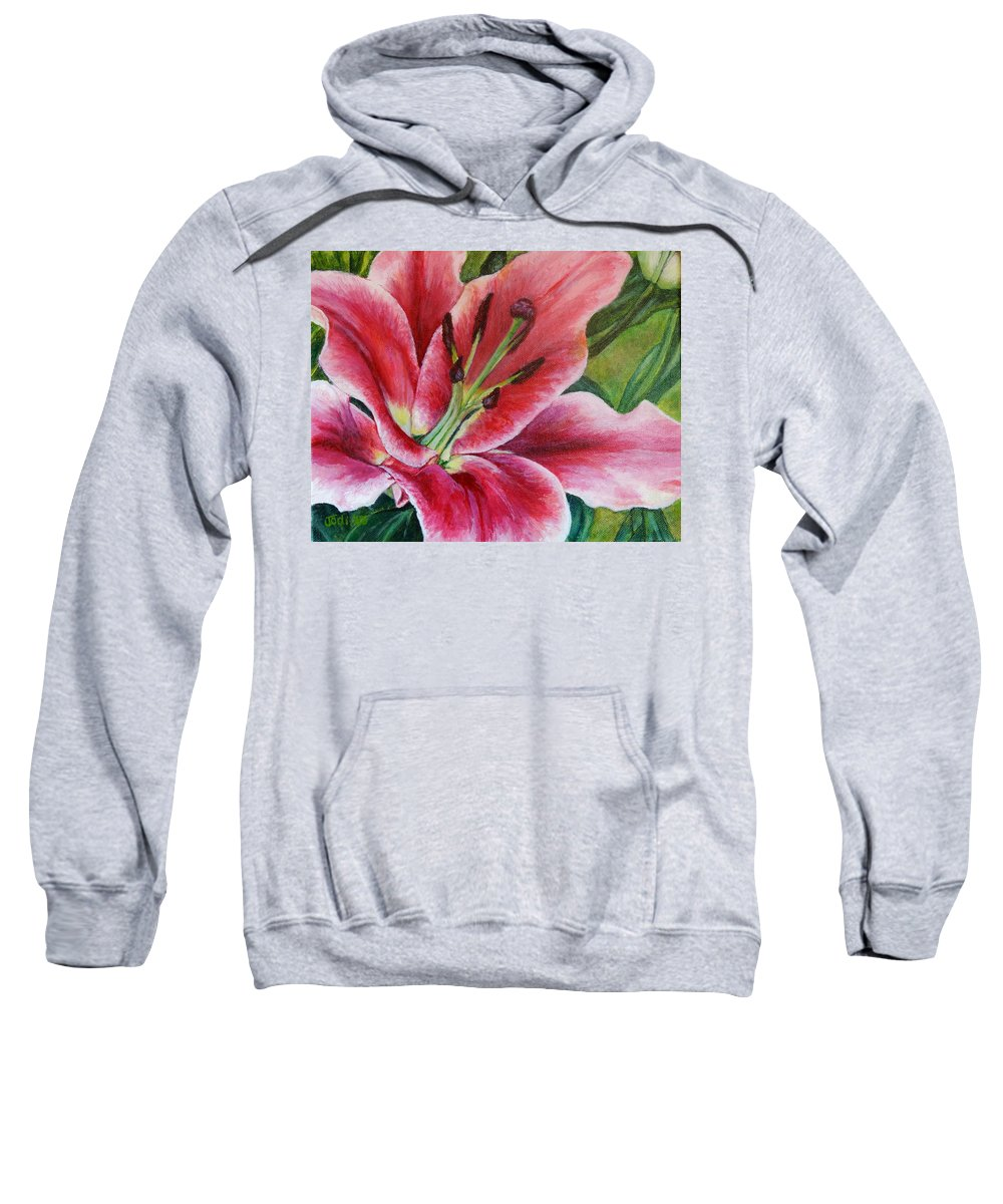 Pink Sweatshirt featuring the painting Pink Tiger Lily by Jodi Higgins