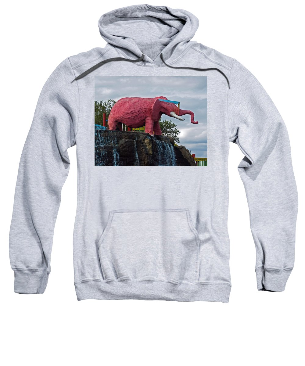 Florida; Kitsch; Roadside; Road; Side; Astronaut; Cape; Canaveral; Pinky; Elephant; Statue; Monument Sweatshirt featuring the photograph Pinky The Elephant At Cape Canaveral by Allan Hughes