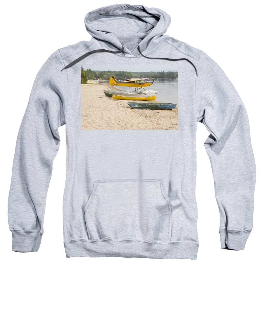 Piper Sweatshirt featuring the photograph Piper Super Cub Floatplane Near Pond In Maine Canvas Poster Print by Keith Webber Jr