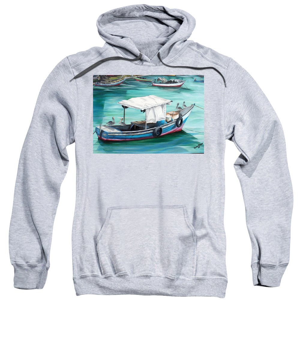 Fishing Boat Painting Seascape Ocean Painting Pelican Painting Boat Painting Caribbean Painting Pirogue Oil Fishing Boat Trinidad And Tobago Sweatshirt featuring the painting Pirogue Fishing Boat by Karin Dawn Kelshall- Best