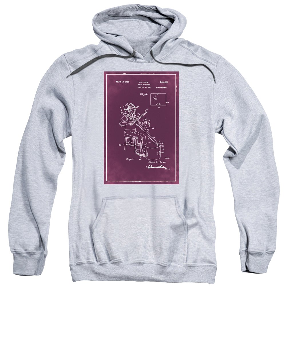Pitch Sweatshirt featuring the photograph Pitch Fork Fiddle And Drum Patent 1936 - Red by Bill Cannon