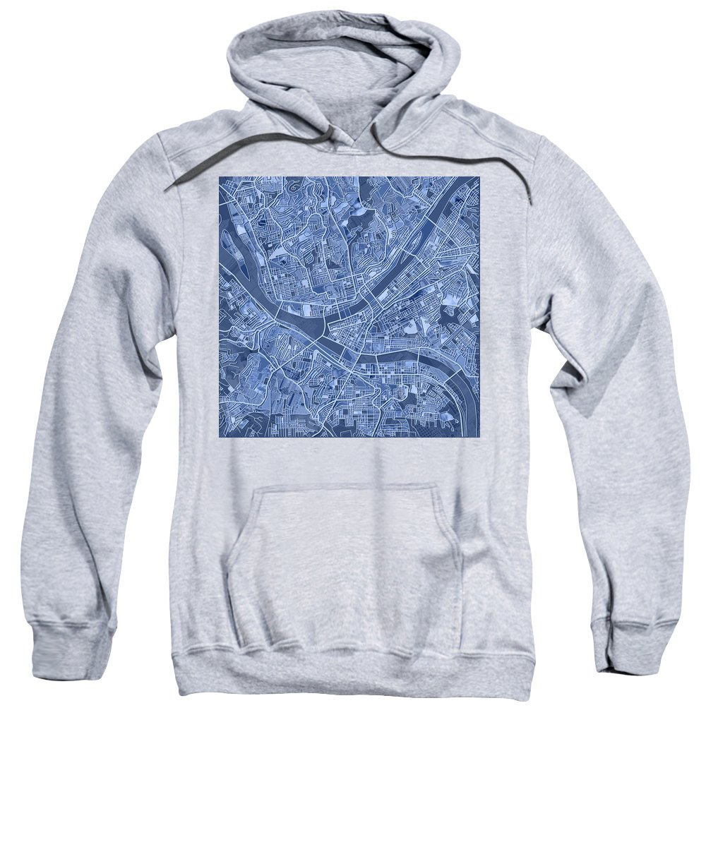 Pittsburgh Sweatshirt featuring the painting Pittsburgh Map Blue by Bekim Art