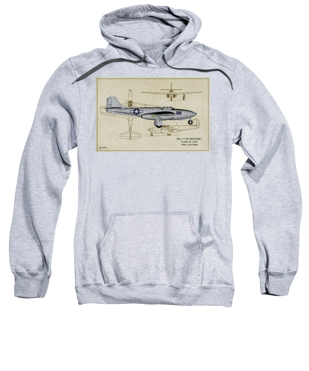 Bell P-59a Airacomet Sweatshirt featuring the digital art Planes Of Fame A-59 Airacomet - Profile by Tommy Anderson