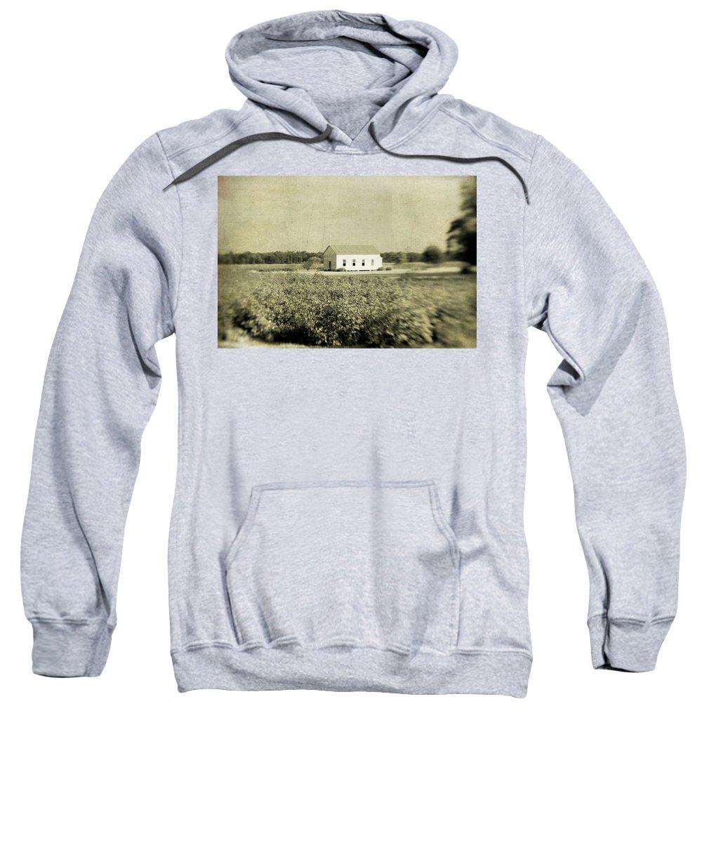 Church Sweatshirt featuring the photograph Plantation Church - Sepia Texture by Scott Pellegrin