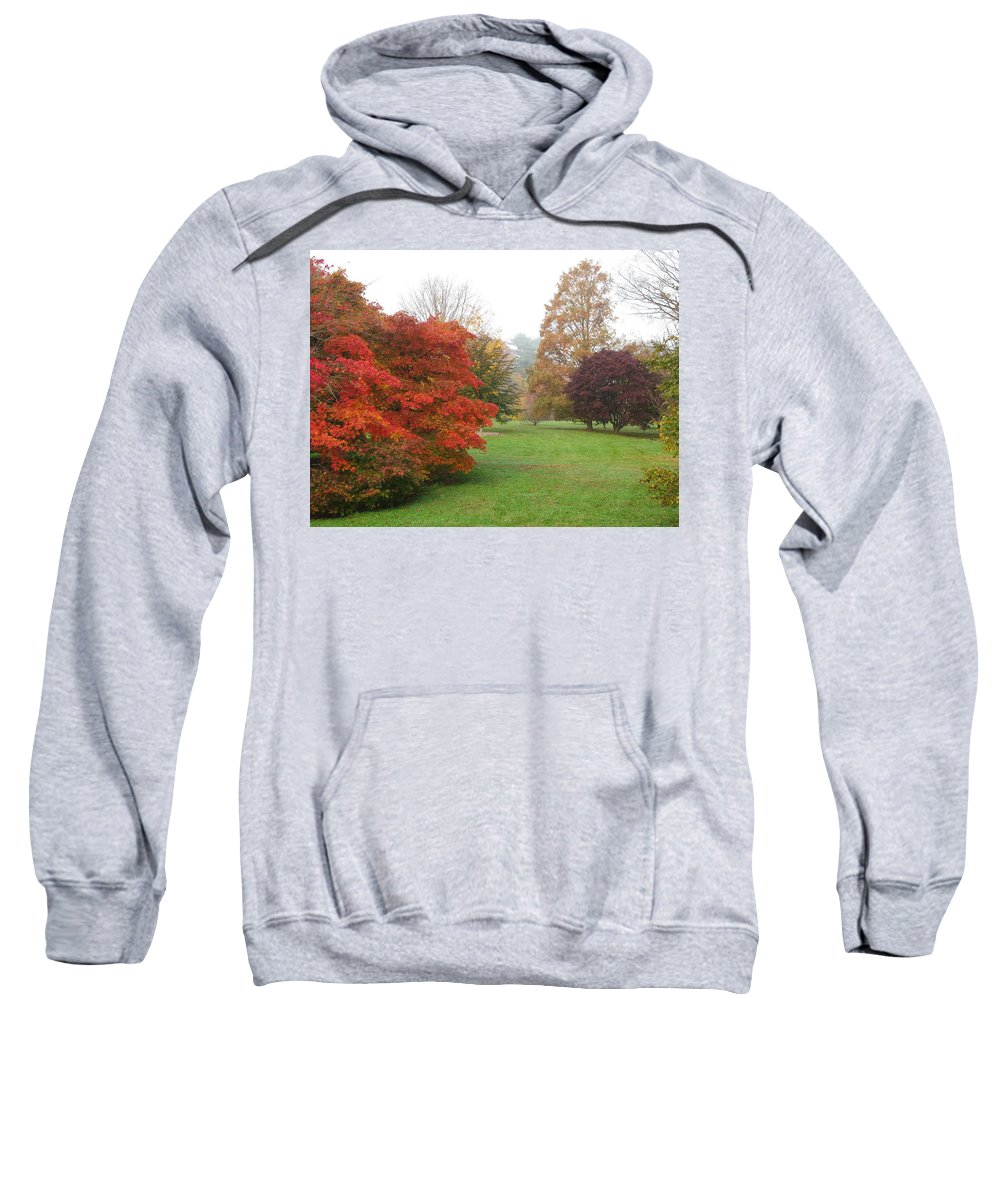 Planting Fields Sweatshirt featuring the photograph Planting Fields Red Tree by Howard Rose