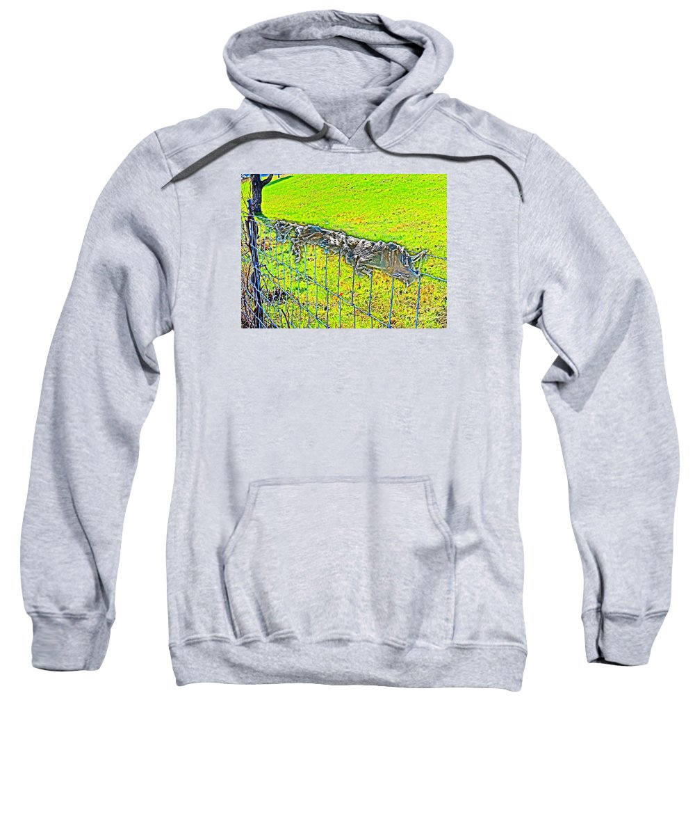 Sweatshirt featuring the photograph Plastic Sheeting On Fence by David Frederick