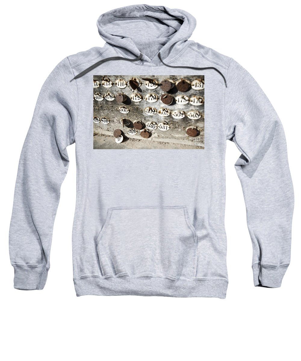 Abandoned Sweatshirt featuring the photograph Plates With Numbers II by Carlos Caetano