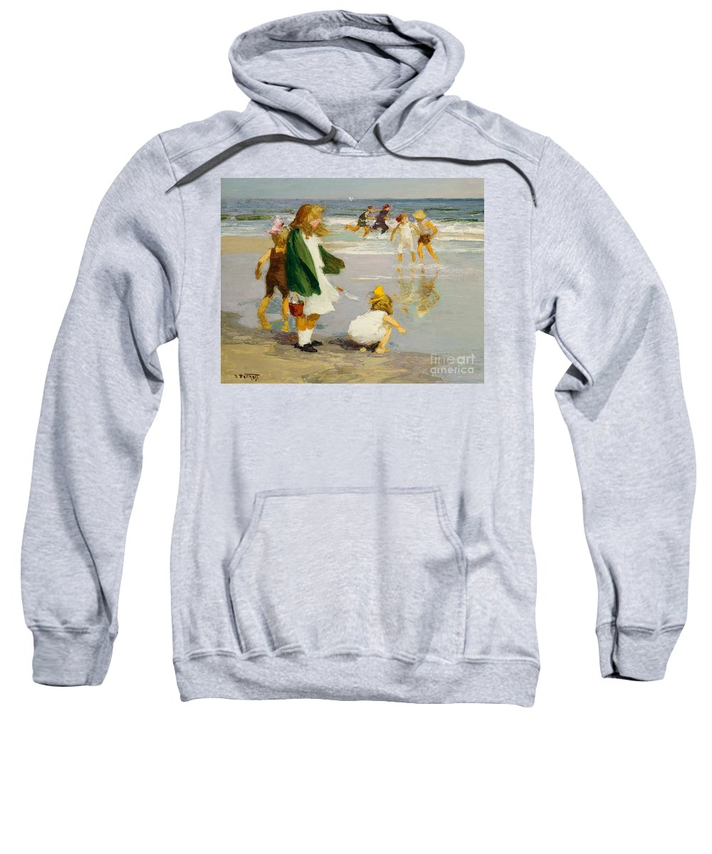 Children; Male; Female; Girl; Girls; Playing; Play; Surf; Beach; Seaside; Holiday; Vacation; Fun; Running; Windy; Summer; Summertime; Innocence; Childhood; Paddling; Vacations Sweatshirt featuring the painting Play In The Surf by Edward Henry Potthast