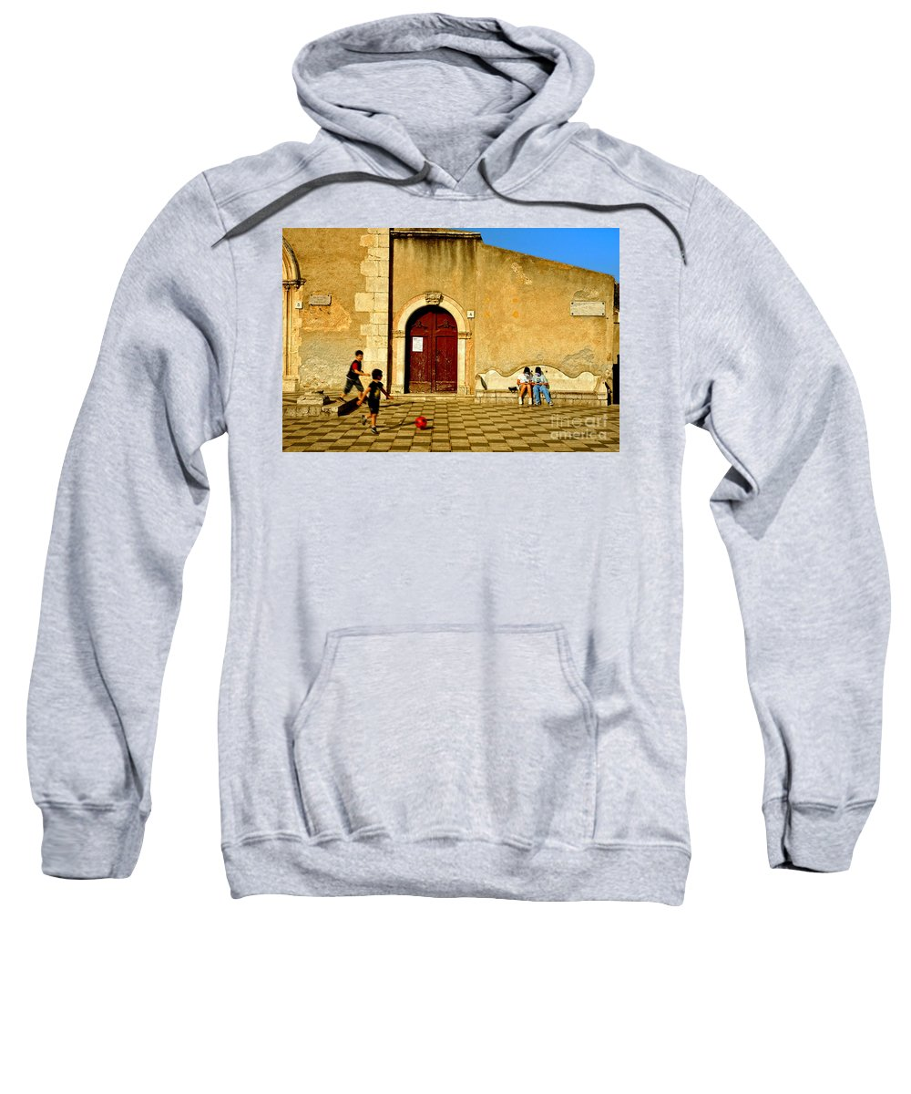 Antique Sweatshirt featuring the photograph Playing In Taormina by Silvia Ganora