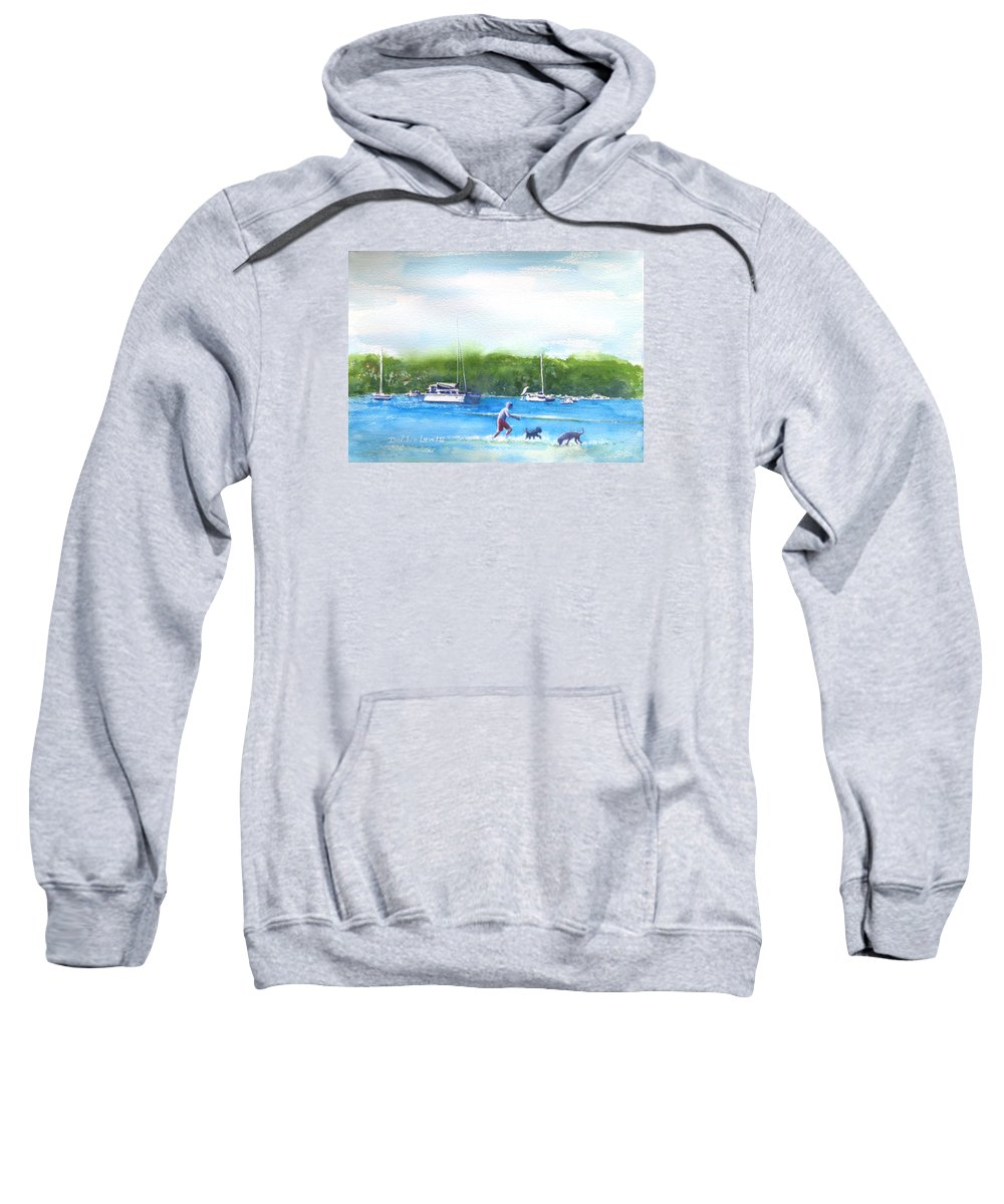 Sydney Sweatshirt featuring the painting Playing With The Dogs At Rose Bay by Debbie Lewis