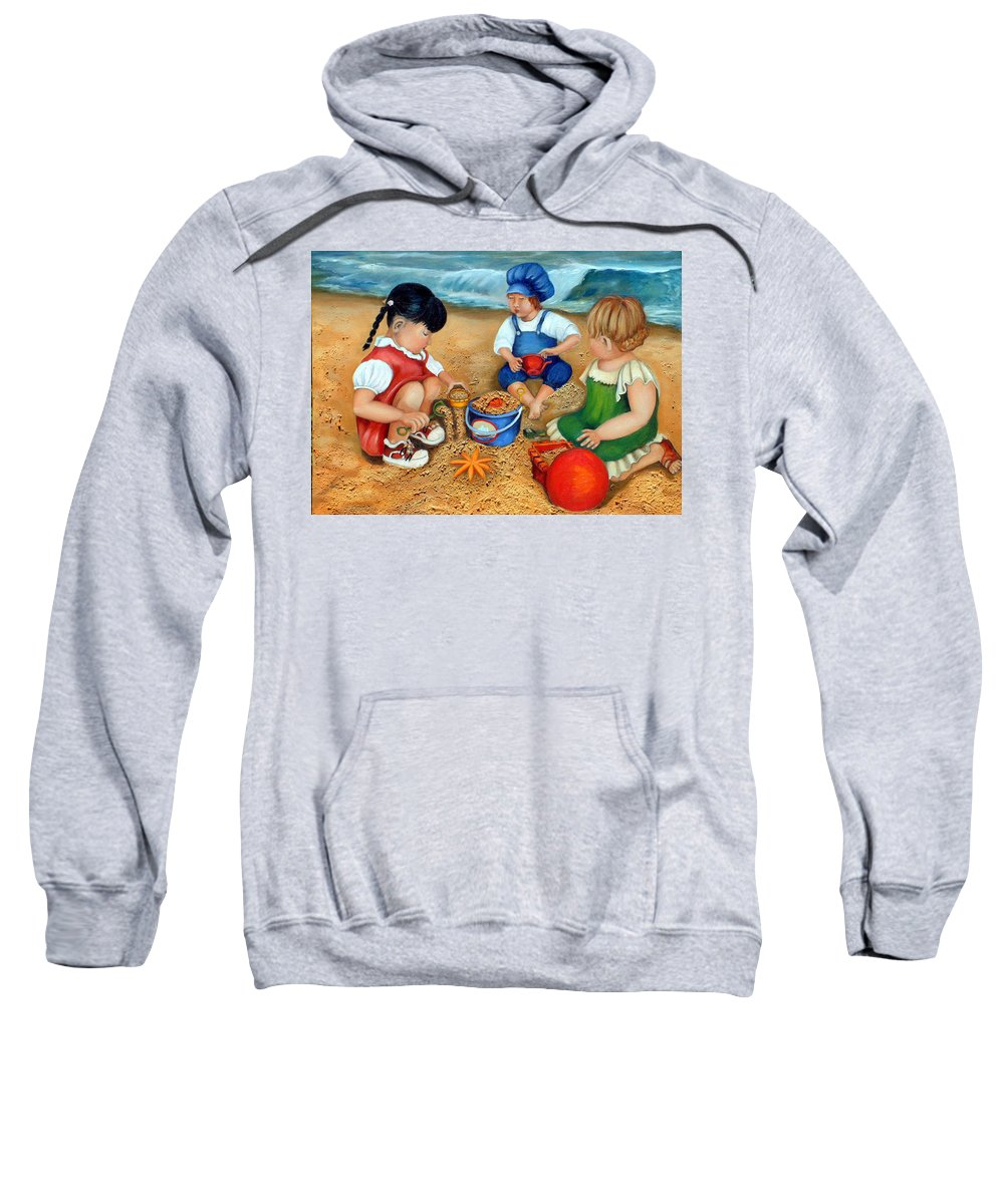 Beach Sweatshirt featuring the painting Playtime At The Beach by Portraits By NC