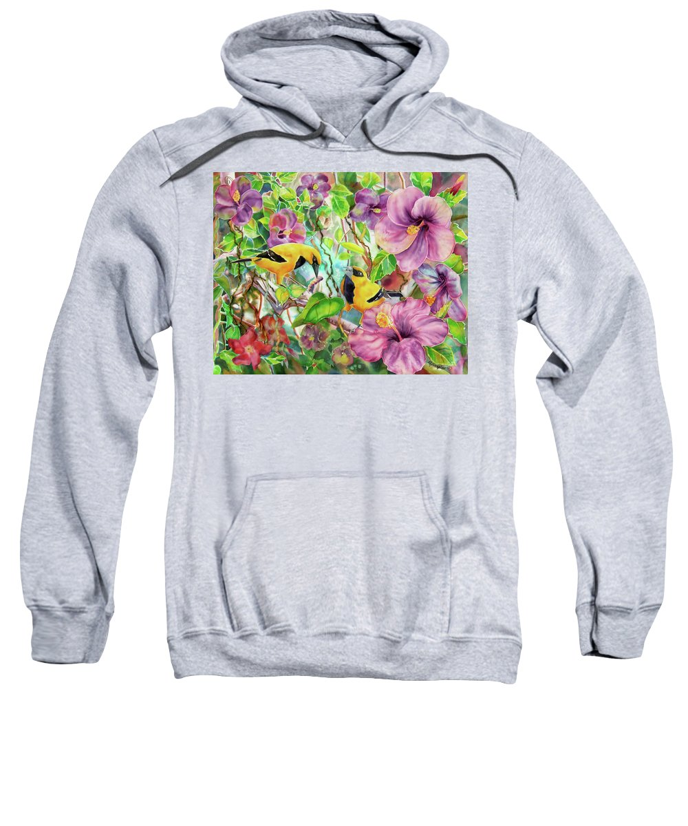 Bird Sweatshirt featuring the painting Please Share by Deborah Younglao