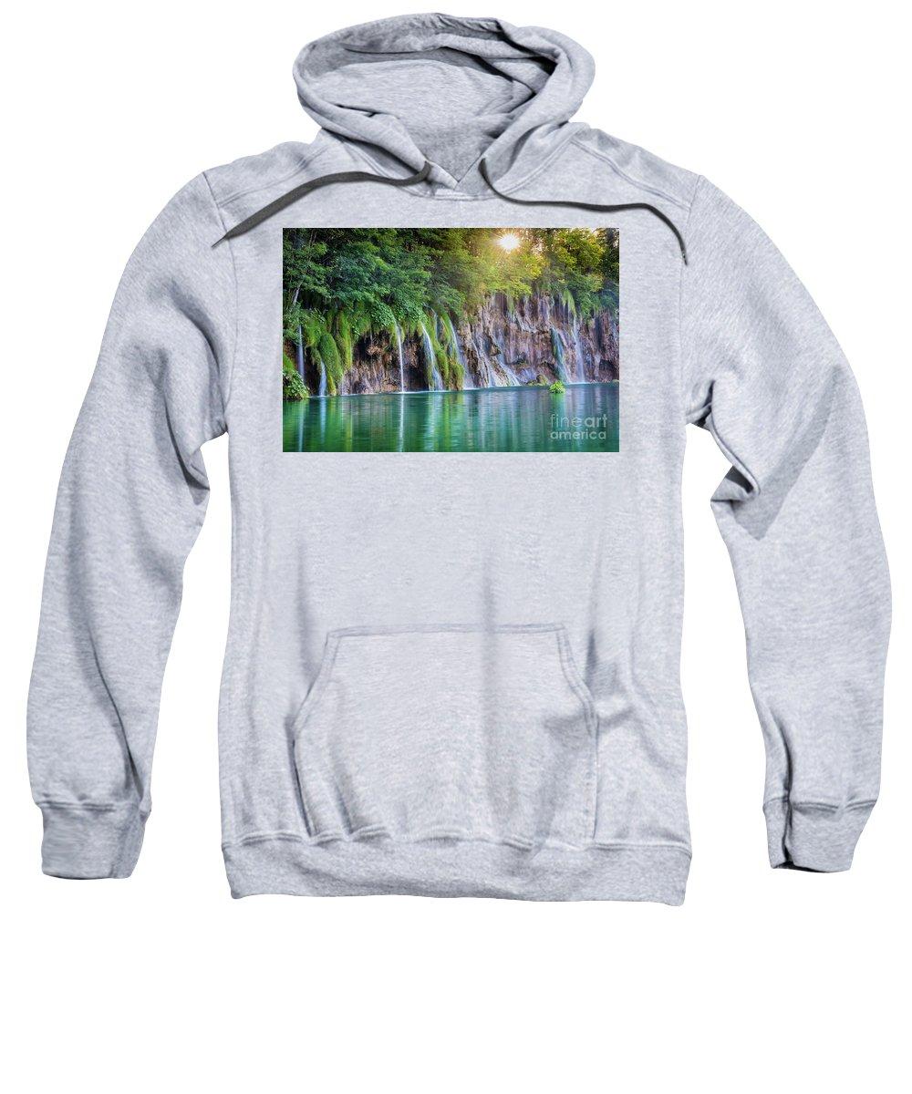 Adriatic Sweatshirt featuring the photograph Plitvice Sunburst by Inge Johnsson